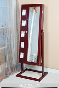 Floor Standing Wooden Mirrored Jewelry Cabinet