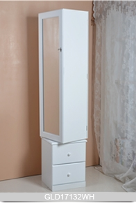 Floor Stand Storage Display Rotating Wooden Mirror Jewelry