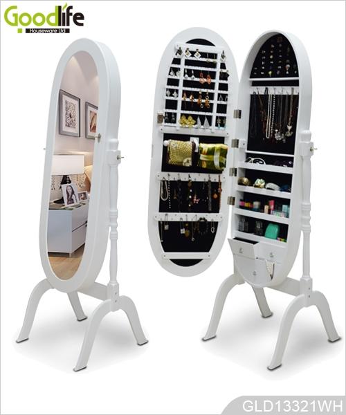 De suelo ovalada armario espejo de la joyer a para el for Espejo ovalado de pie