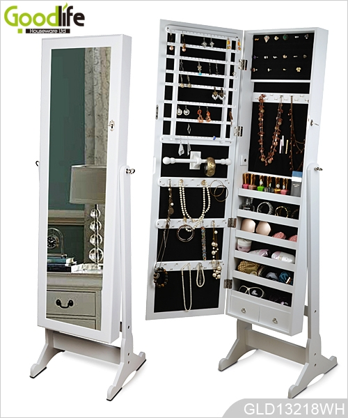 Captivating Floor Standing Wooden Mirrored Jewelry Storage Cabinet From Goodlife  GLD13218 ...