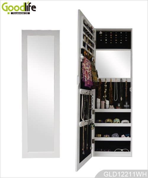 Full Length Mirror Wooden Jewelry Cabinet Hanging Over The Door