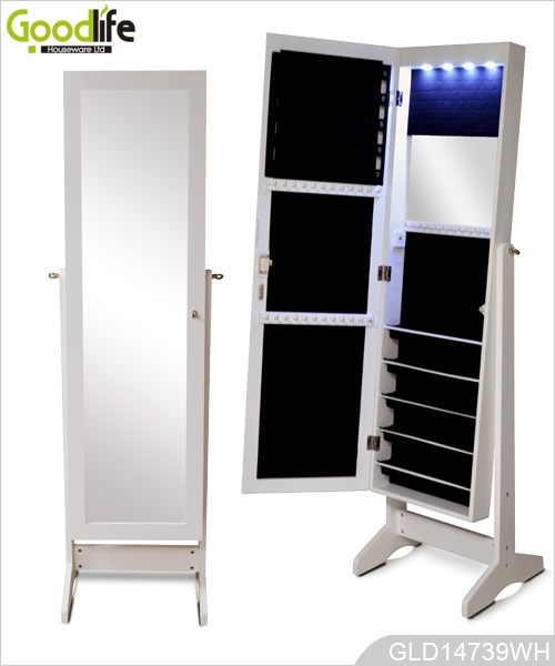 Full Length Dressing Mirror With Storage Cabinet For Jewelry With Led Lights Inside