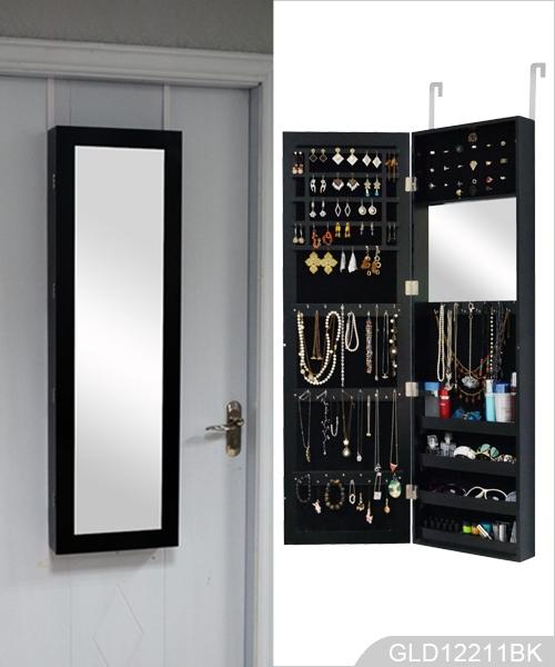 Support mural armoire bijoux suspendue au dessus de la porte pour porte bij - Miroir avec porte bijoux ...