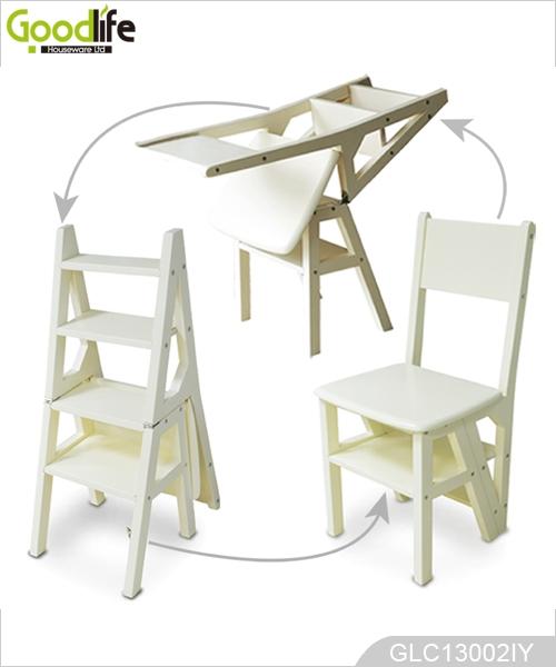Alto brillo funci n m ltiple madera s lida paso silla escalera for Silla escalera de madera