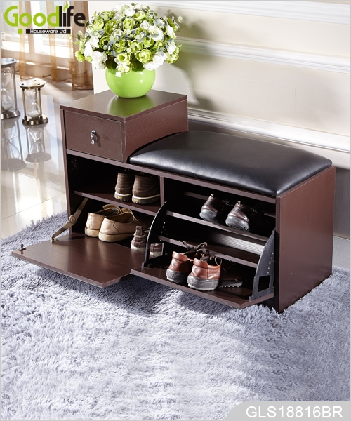 excellent wholesale shoe racks high capacity living room furniture   Japanese shoes changing style wooden shoe rack mirrorGLS18816