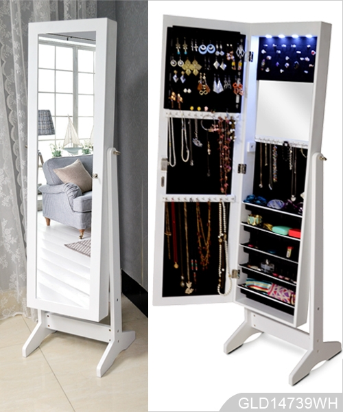 Wholesale mirrored jewelry cabinet armoire stand GLD14739
