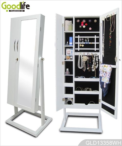 Grande mobile in legno per i gioielli e vano porta accessori con specchio spogliatoio - Armadio specchio gioielli ...