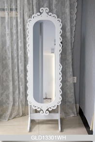 Grabado marco ovalado gabinete joyero de madera con espejo for Espejos de cuerpo completo