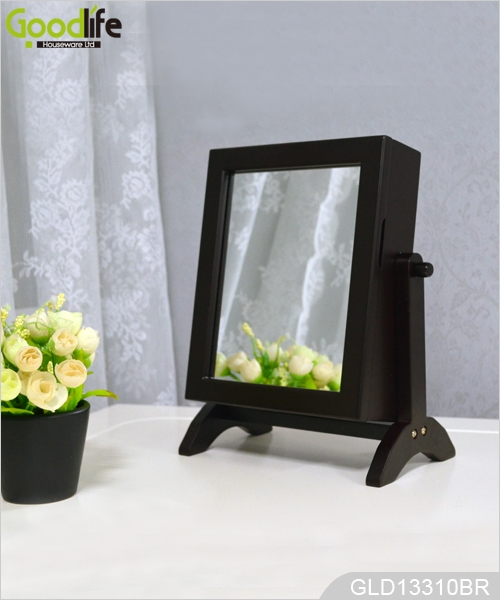 Mini Desk Top Standing Jewelry Cabinet Organizer With Makeup Mirror  GLD13310 ...