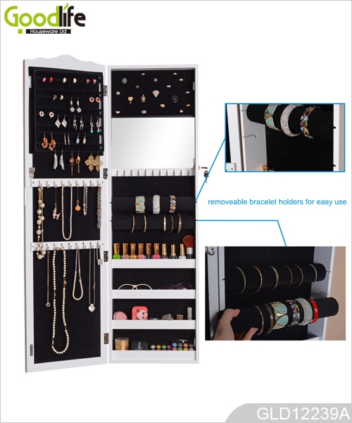Multi-functional jewelry storage cabinet with full length dressing mirror GLD12239A