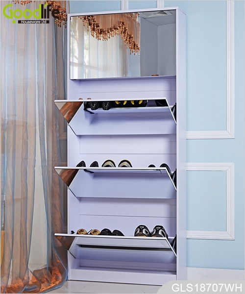 New Design For European Large Shoes Storage Full Length Mirrored Wooden Shoe  Cabinet GLS18707 ...