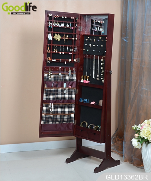 New Design Standing Wooden Full Length Mirrored Jewelry Organizer Cabinet With Inside Fabric Bags Gld13362