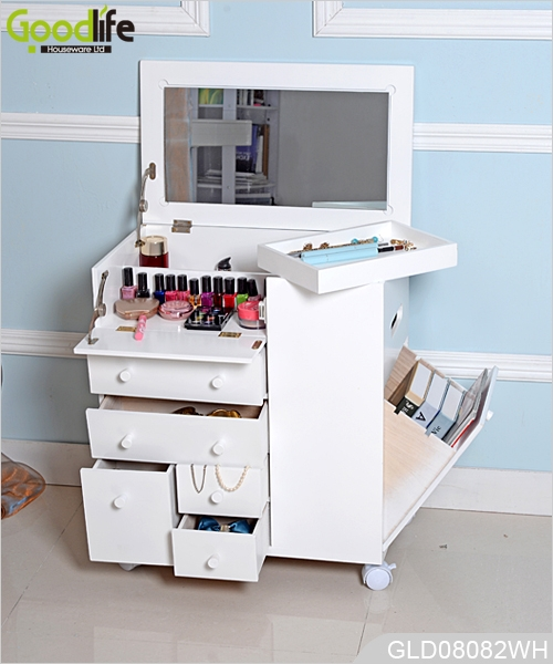 new design wheeled wooden makeup cabinet with mirror in white. Black Bedroom Furniture Sets. Home Design Ideas