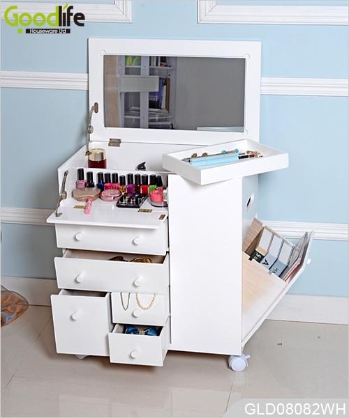 neues design r dern holz makeup schrank mit spiegel in wei. Black Bedroom Furniture Sets. Home Design Ideas