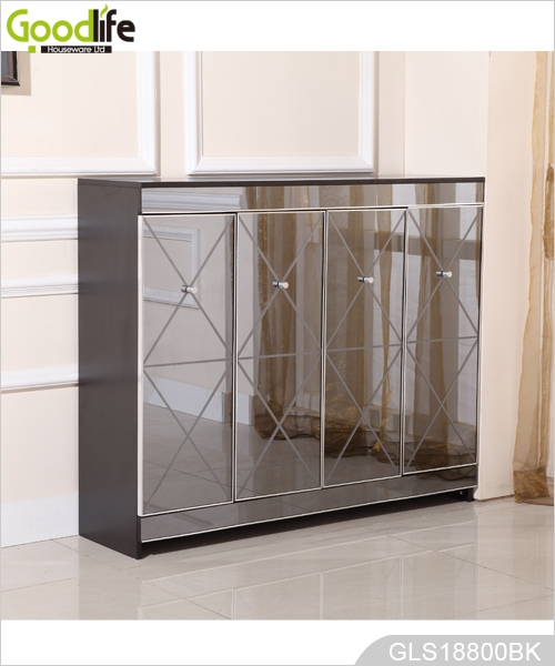 New Design Wooden Shoe Storage Cabinet With Grey Mirror Factory Whole Gls18800