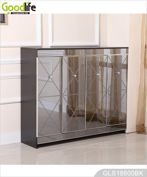New Design Wooden Shoe Storage Cabinet With Grey Mirror Factory Wholesale  GLS18800