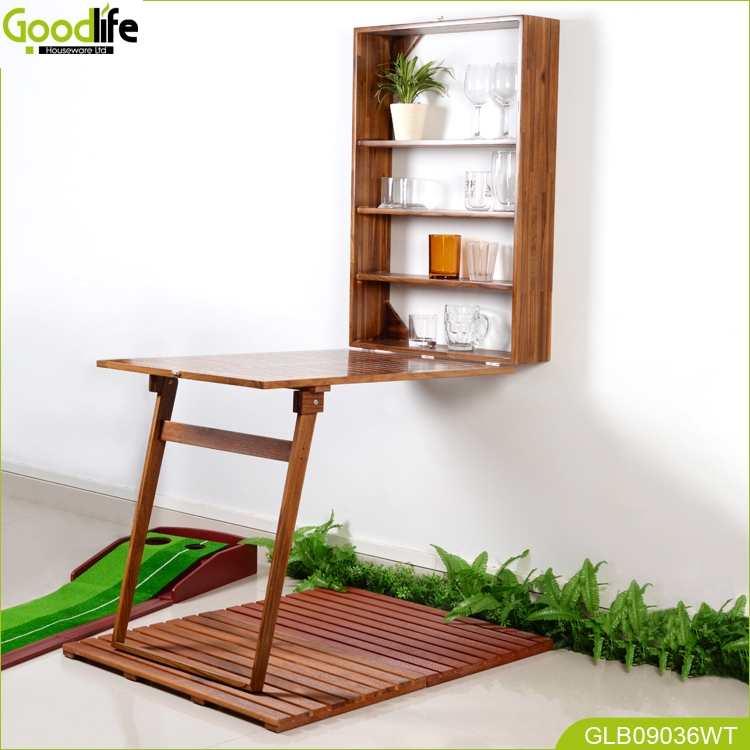 Oem Odm Teak Wood Wall Folding Table For Book Shelf And