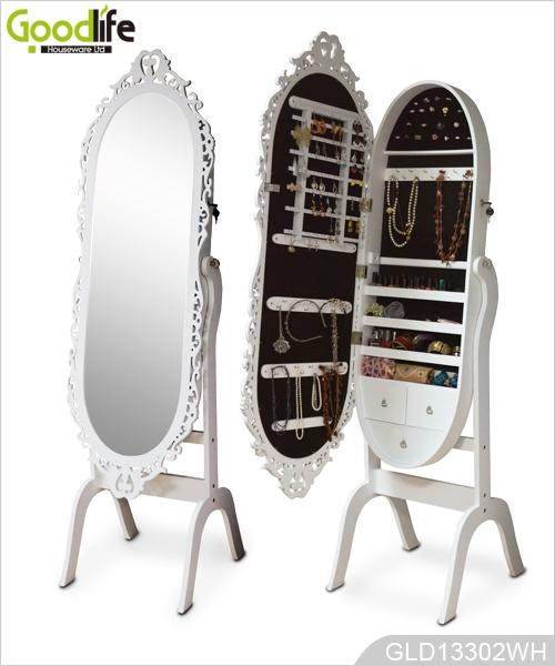 Spiegel aus holz schmuck schrank for Spiegel oval mit rahmen