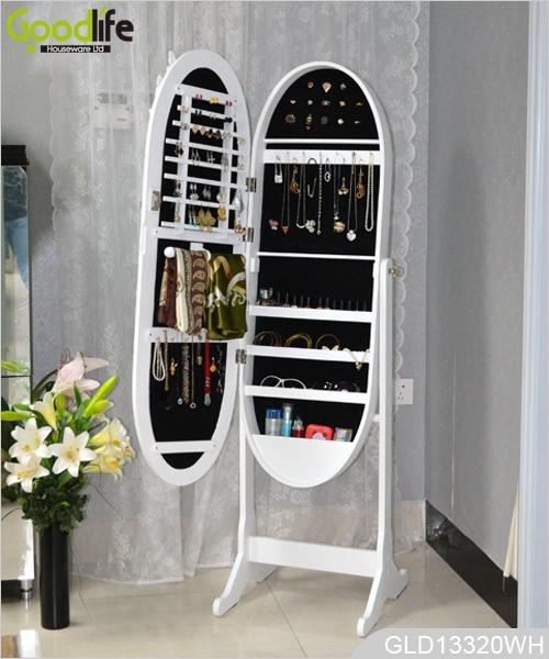 miroir armoire de rangement des bijoux avec miroir ovale. Black Bedroom Furniture Sets. Home Design Ideas
