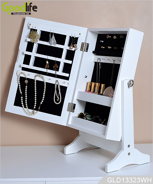 stehend auf dem tisch aus holz schmuck und make up schrank mit spiegel. Black Bedroom Furniture Sets. Home Design Ideas