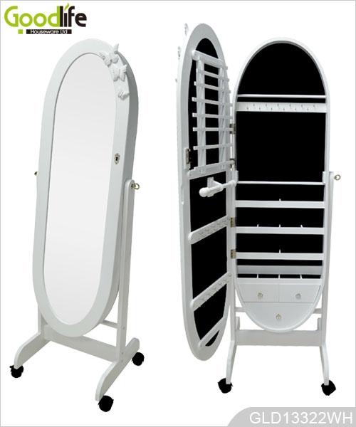 Stehend Oval Holz Dressing Spiegel Mit Schmuck Schrank Mit