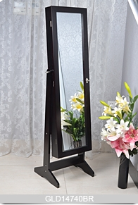 ... Standing Wooden Jewelry Storage Cabinet With Full Length Mirror (can Be  Wall Mounted Or Hanging ...