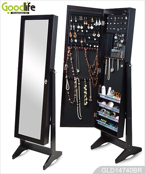Standing Wooden Jewelry Storage Cabinet With Full Length Mirror Can Be Wall Mounted Or Hanging