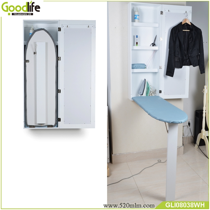 Wall Mounted Fold Out Mirrored Wooden Ironing Board Cabinet GLI08038 ...