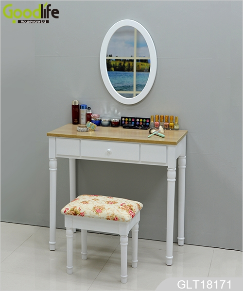 Wall Mounted Dressing Table With An Oval Mirror And A