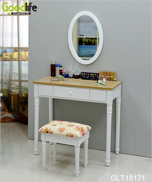 Wall Mounted Dressing Table With An Oval Mirror And A Lining Stool Glt18171