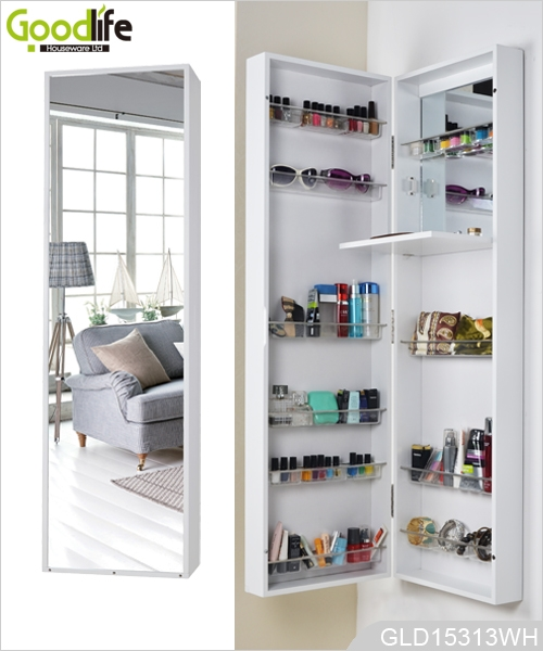 Wall mounted or hanging over the door mirrored makeup for Bedroom wall cabinet with mirror
