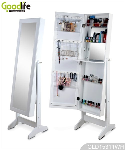 blanc maquillage organisateur de bijoux armoire avec miroir int rieur dressing. Black Bedroom Furniture Sets. Home Design Ideas