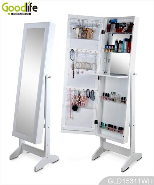 Bianco trucco organizzatore gioielli mobile con specchio spogliatoio interno - Mobile per trucco ...