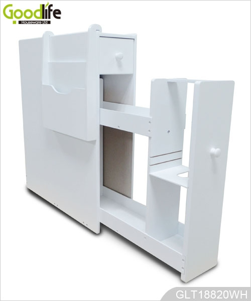 white wooden bathroom cabinet with hanging magazine holder glt18820. Black Bedroom Furniture Sets. Home Design Ideas
