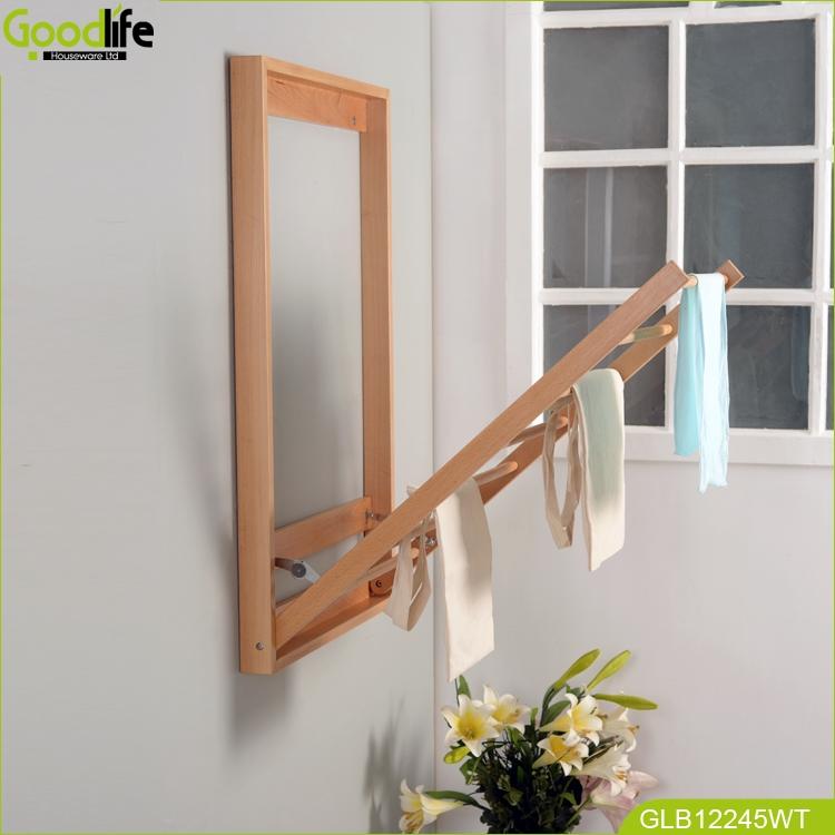 Wholesale Bathroom Wall Mounted Wood Shelf Towel Rack For