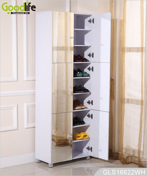 Wooden mirrored 6 door shoe cabinet with 9 layer shelves - Armoire a chaussure miroir ...