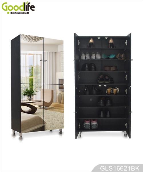 Mirrored Shoe Cabinet Black