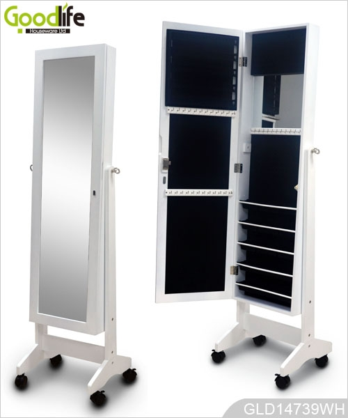 bois armoire de rangement des bijoux avec miroir dressing et roues. Black Bedroom Furniture Sets. Home Design Ideas