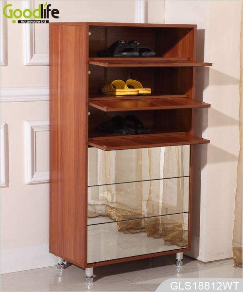 Wooden Mirrored Shoe Storage Cabinet For Shoes Organizing Gls18812b