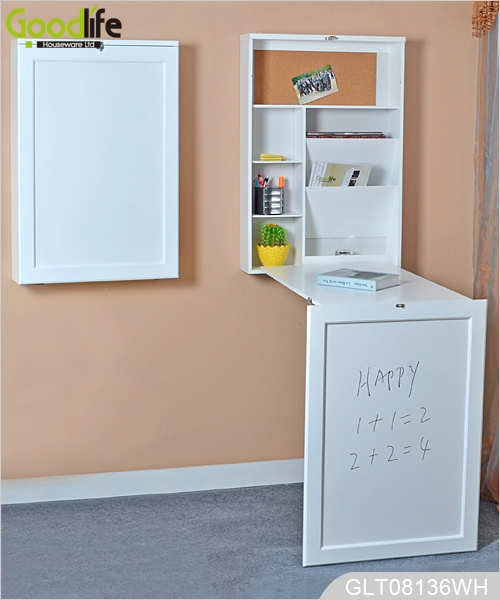Wooden wall mounted fold-out convertible desk with white maker ...